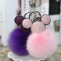 Creative Mickey head fox fur ball key chain cartoon cute lady bags gifts car pendant chains