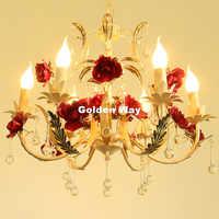 Moderne décoratif Floral Lustre lampe Lustre lumière 6L Rose fleur Lustre luminaire E14 LED décoration de la maison Lustre