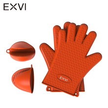 Фотография EXVI Food Grade Thick Silicone and Heat Resistant Pinch Mitts Kitchen Barbecue Oven Glove Cooking BBQ Grill Glove Oven Mitt