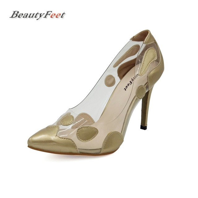 2017 Summer Fashion Paint Metal Color Thin Super High Heels Pointed Women  Shoes Woman Pumps Shallow 00bb084b971d