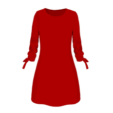 Ladies One-pieces Dress Solid Color Rounded Neck Long Sleeves Casual Dress for Spring Autumn