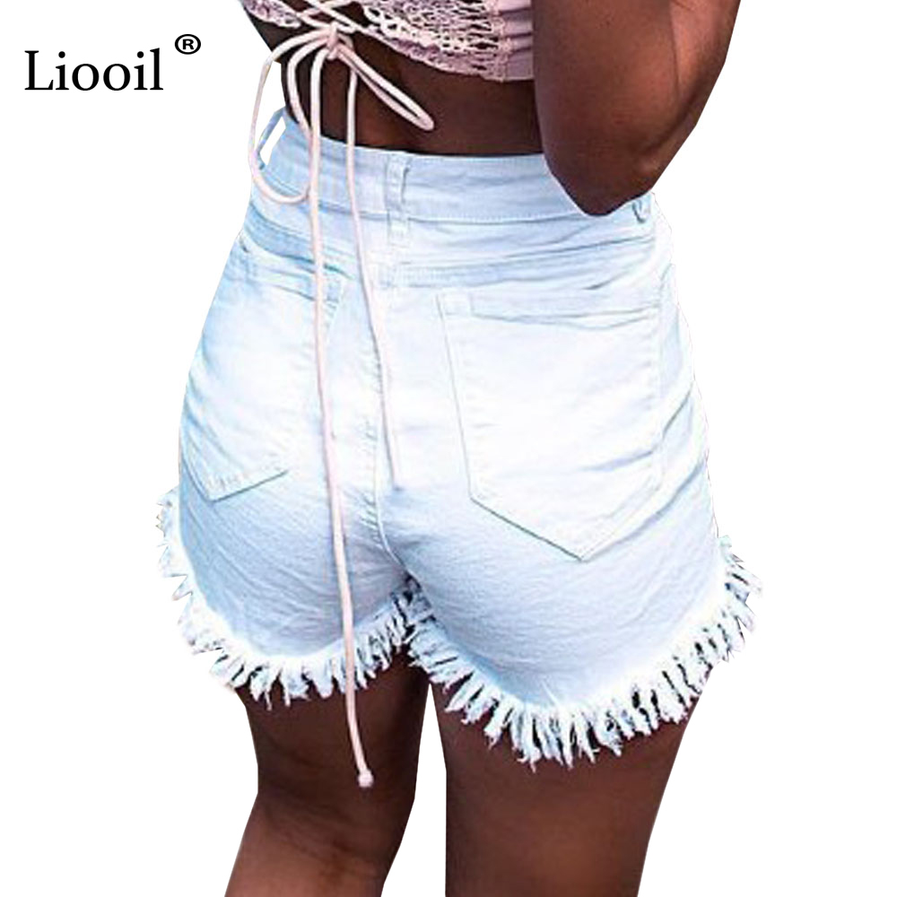 Liooil 2019 Summer Tassel Denim Shorts Black White Red Skinny High Waisted Shorts Button Pockets Casual Women White Jean Shorts