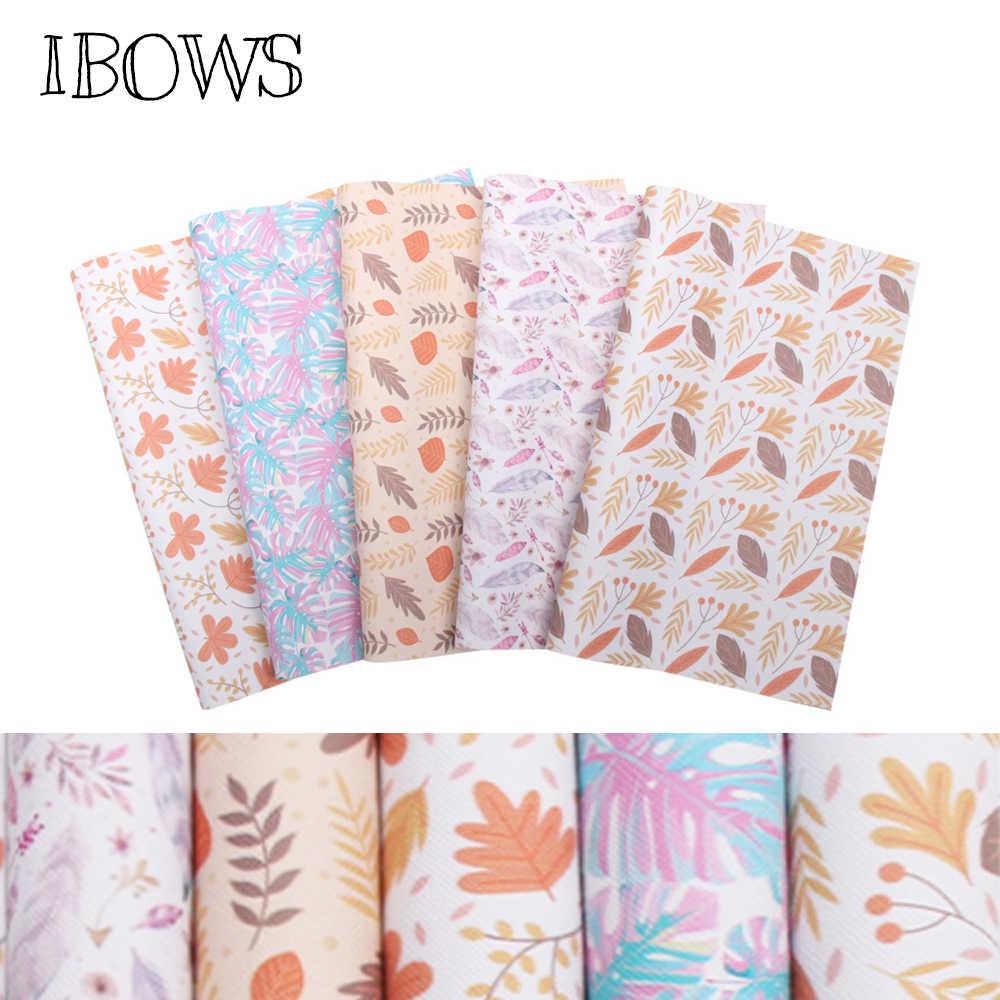 IBOWS 22*30 cm Snythetic tkanina ze skóry jesienne liście drukowane Faux skóra winylowa do włosów DIY Bow torby Handmade rzemiosło materiał
