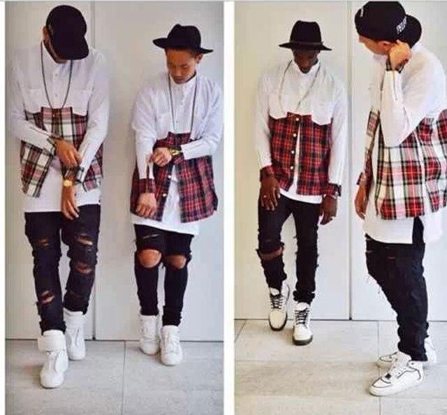2015 Tyga men streetwear shirts side golden zipper plaid Pockets hip hop Red White flannel hba