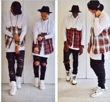 2015 Tyga men streetwear shirts side golden zipper plaid Pockets hip hop Red White flannel hba Shirt tartan casual clothes