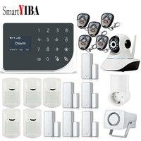 SmartYIBA Беспроводной Wi Fi сигнал Системы проводной GSM Главная охранной сигнализации Комплект видео IP Камера умная розетка приложение Управлен