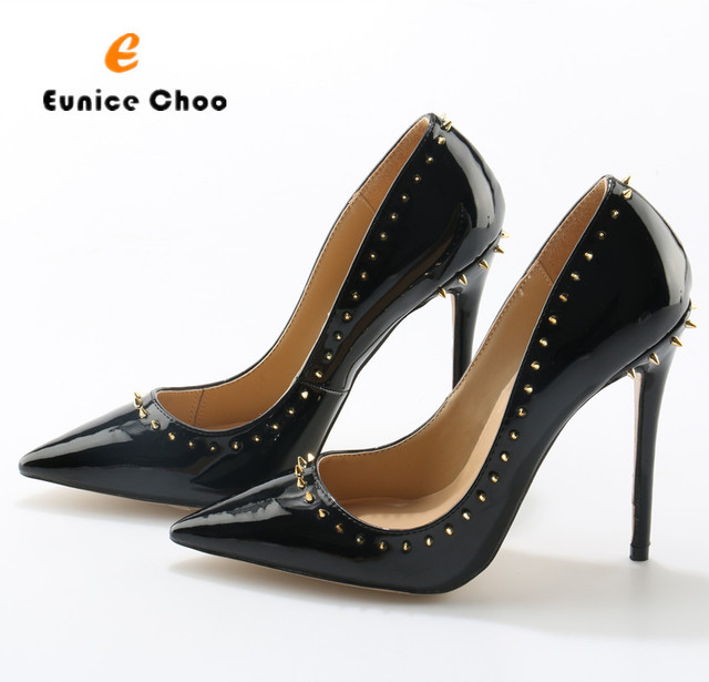 Eunice Choo Luxury Rivets Decorated Black Patent Leather Women Party Shoes  High Heels Pointed Toe Fashion Runway Stilettos 0f652296ebf7