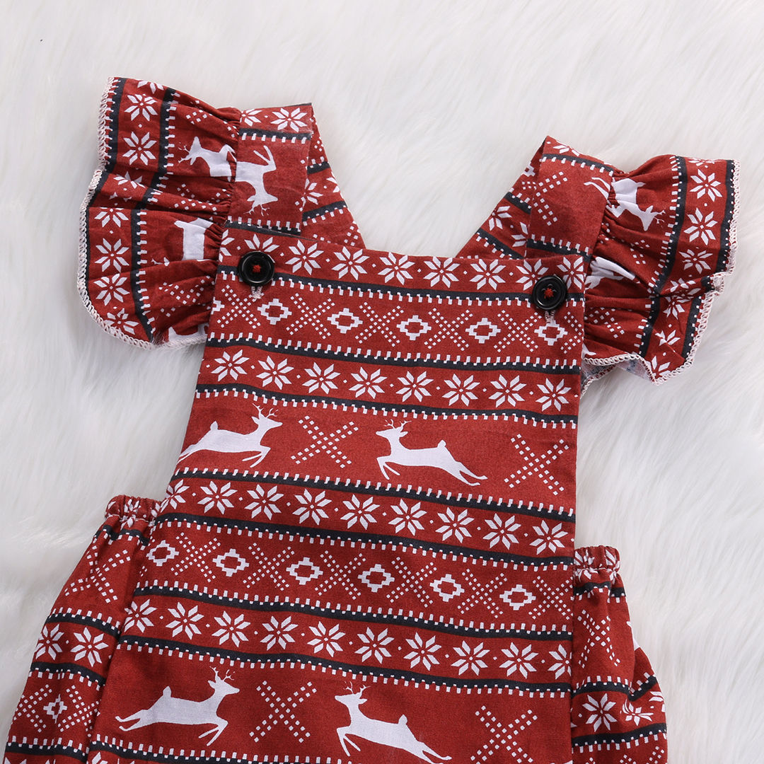 Indian Style Baby Girl Bodysuit Deer And Geometric Pattern Print Brown Color Petal Sleeve Body Clothing In Bodysuits From Mother Kids On Aliexpress
