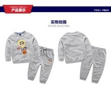 2016 New Autumn Kids Boys Crayon Shin Chan T Shirt Pant  Set Children  Kids Sport Suit Outfit  for 3-9T