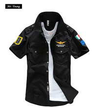 Aeronautica Militare Ввс Бренд Мужской С Коротким Рукавом Рубашки Мужчины Военный Самолет Пилот Рубашка Грудь Логотип Вышивка Повседневная Рубашка(China (Mainland))