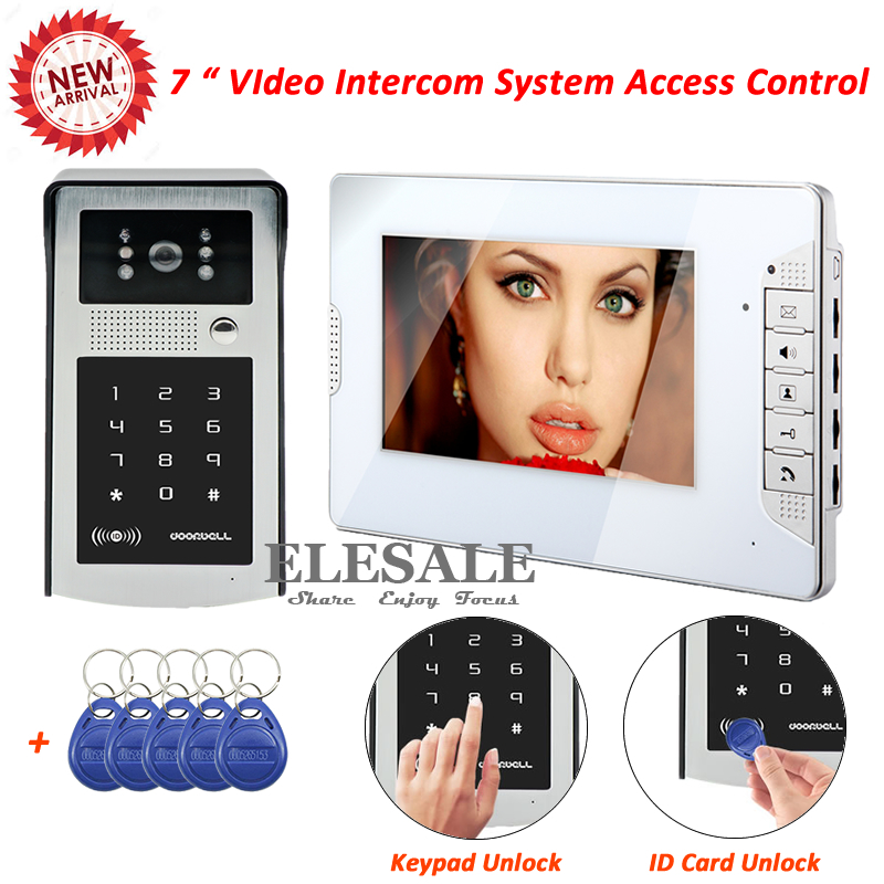 New 7 Wired Video Door Intercom Access Control System Video Door Phone ID Card Password Unlock For Home Security new forcummins insite date unlock proramm