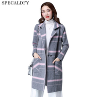 2017 Autumn Winter Plus Size Coat Women Basic Coats Women S Plaid Long Cardigan Feminino Knitted
