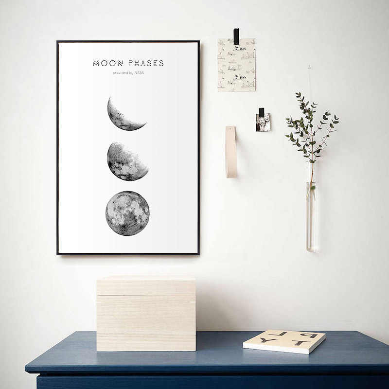 Canvas Print Picture Wall Artwork Poster Simple Moon Phase Paintings Minimalist Style Nordic Home Decoration Module Living Room