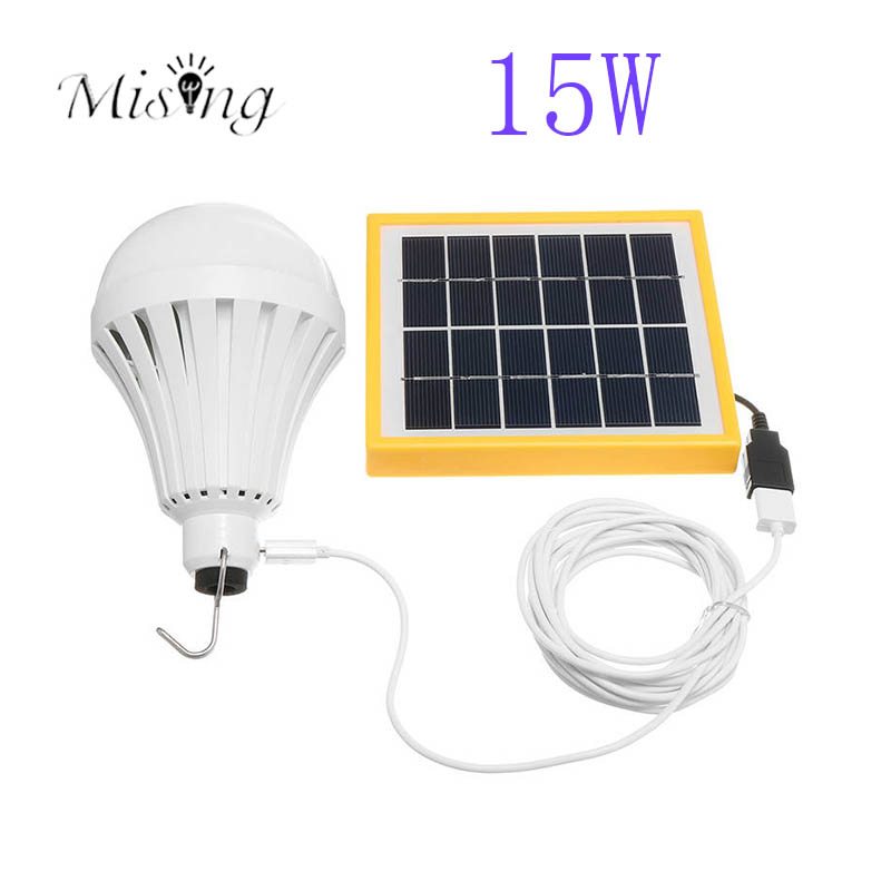 Mising Portable 15W LED E27 Solar Light Bulb Tent Camping Fishing Solar Energy Lamp Rechargeable for Home Outdoor Hiking Lights