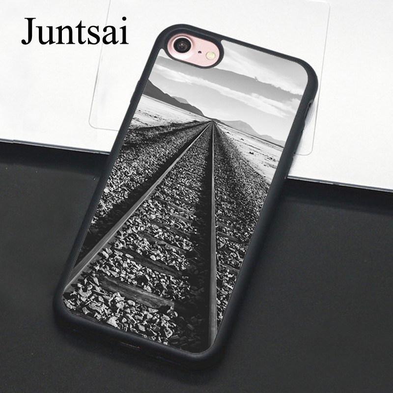 Juntsai Railroad Railway Train Tracks For iPhone 6 6s Plus Case Soft TPU Back Cases For iPhone X 7 8 Plus 5 5s SE Phone Cover