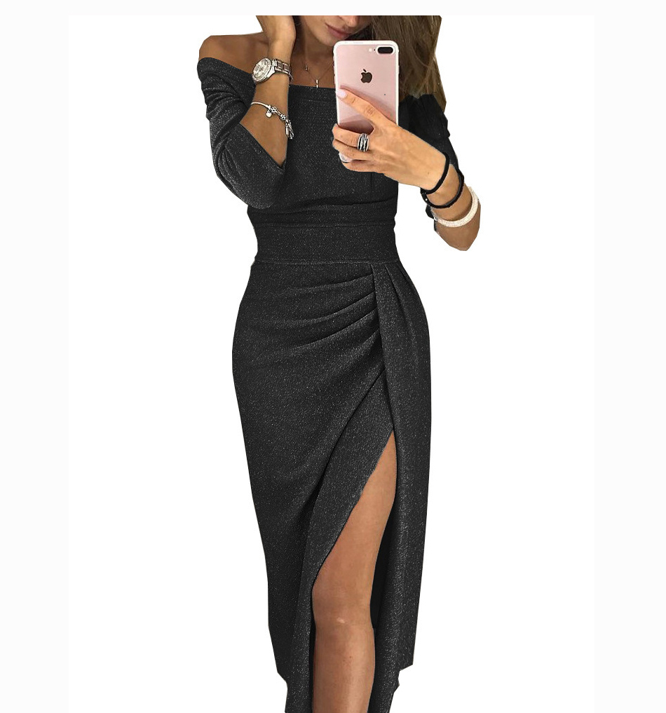 Sexy Off Shoulder Sequin Dress Elegant High Waist Slit Long Dresses Women Party Night Maxi Bodycon Dress plus size Midi dress 10