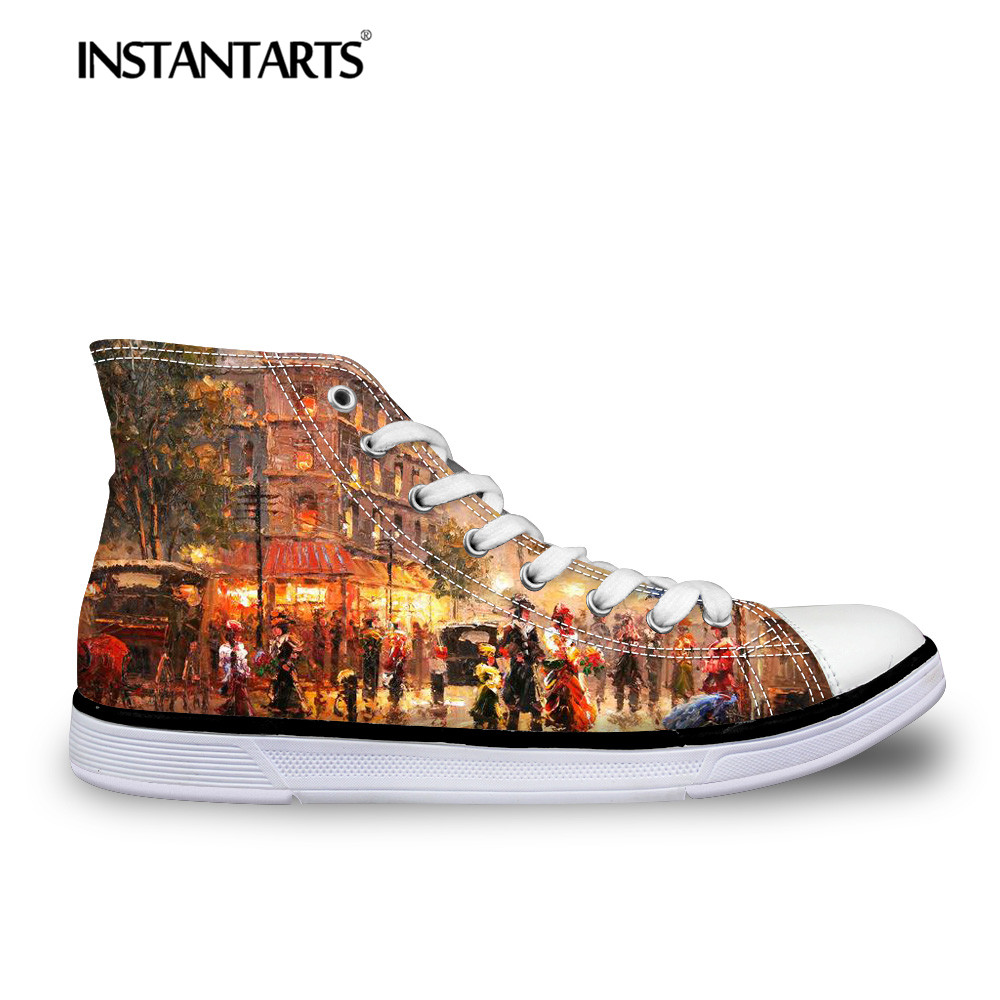 INSTANTARTS Starry Night Flats Shoes Women Fashion High-top Casual Canvas Shoes Classic Vulcanize Shoes Hand-painted Print Flats цена 2017