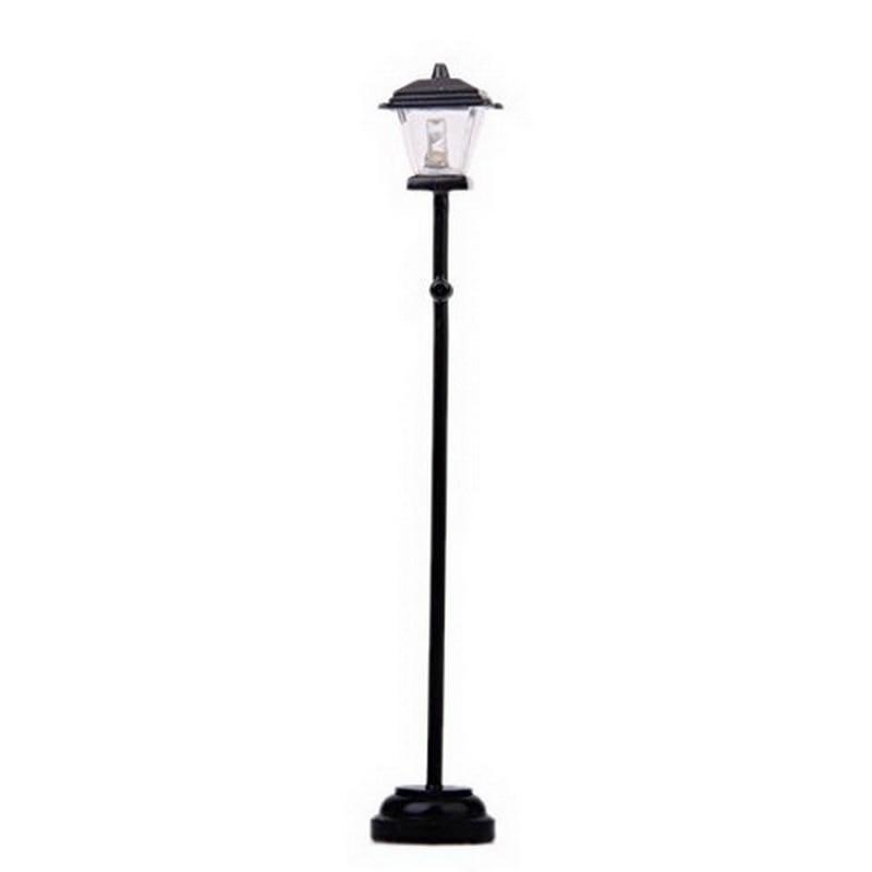 Black Metal LED Street Lamp Model For 1:12 Dollhouse Miniature