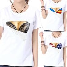 67f60fdd8e women 3D funny print fake naked big chest Bra t-shirt tops tees t shirts  clothing