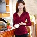 Новый Женщин Футболку дна рубашки V-образным Вырезом с длинными рукавами футболки Корейской версии шелк молока Плюс размер леди Одежда 0176