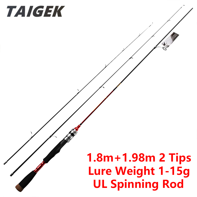 TAIGEK 1 8m 1 98m 2 Tips UL Spinning Fishing Rod 2 Section Carbon Fiber Ultra