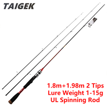 TAIGEK 1.8m + 1.98m 2 Tips UL Spinning Fishing Rod Section Carbon Fiber Ultra Light Fresh Water Carp Pole