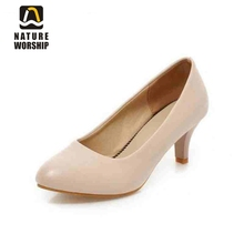 New women shoes Concise Mature women pumps Round Toe Slip-On Office Lady shoes Spring/Autumn Women'S Pumps big size 34-43