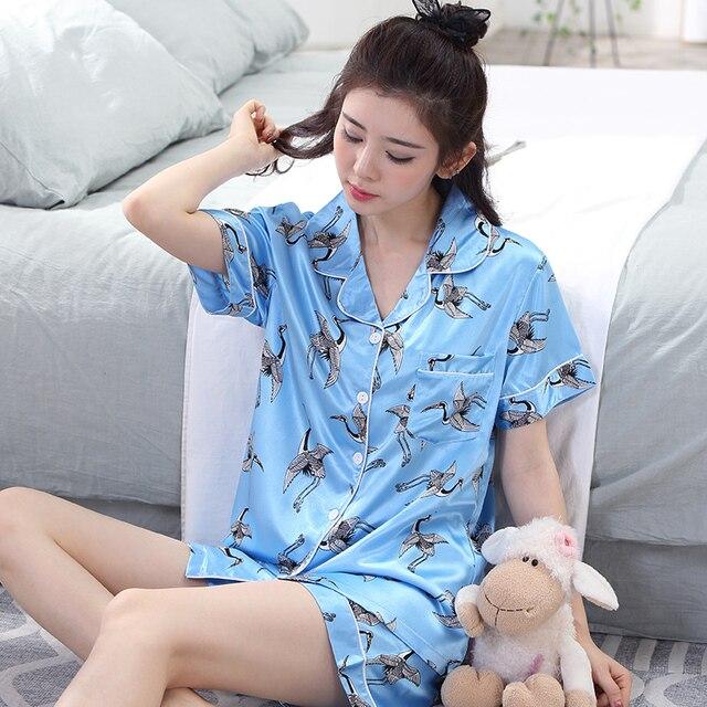 Womens Silk Satin Pajamas Pyjamas Set Summer Short Sleeve Animal Sleepwear  Plus Size Sexy Loungewear M L XL XXL 3XL 7dbe5e662