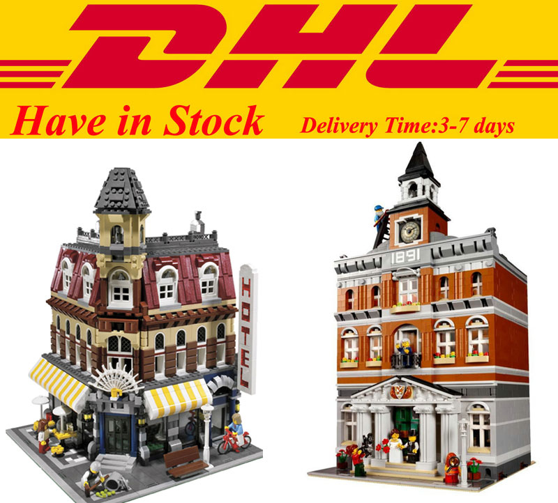 In Stock City Street Creators LEPIN 15002 Cafe Corner LEPIN 15003 Town Hall Building Block Bricks