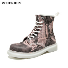 Genuine Leather Print Chunky Motorcycle Boots for Women Autumn 2019 Fashion Round Toe Lace-up Combat Snow Boots Ladies Shoes стоимость