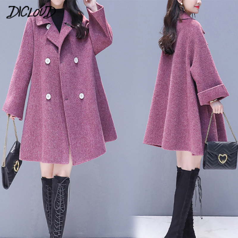 DICLOUD Cloak Coats Women Plus Size Jackets Double Breasted Coat Ladies Brand Designer Purple Outerwear Woolen Clothes Fashion