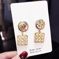 Retro, colorful, pearl Letter earrings, steel needle anti - allergy earrings, female, fashion jewelry wholesale,TF99