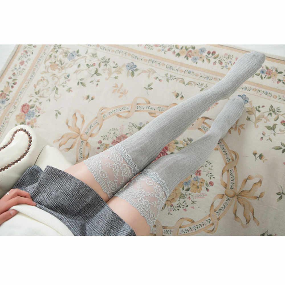 Mode Mädchen Student Über Knie Hohe sex Strümpfe Spitze Trim Oberschenkel Hoch Über Den Knie Lange Baumwolle Warme einfarbig strümpfe