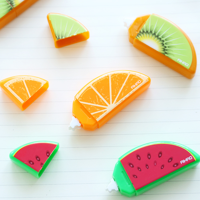 6 pcs/Lot Fruit deco correction tape Mini correcting tapes correttore nastro stationery Office accessories School supplies 6815