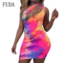 FUDA Fashion Tie Dyed Sexy Hollow Out Mini Dress Elegant Sleeveless Bodycon Bandage Pencil Summer Femme Retro Clothing
