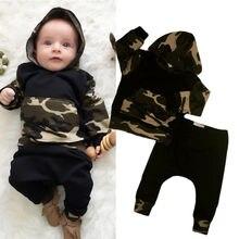 С капюшоном для малышей Топы корректирующие теплые комплекты с длинными штанами комплект Костюмы Bay мальчик девочка Армейский зеленый Топы корректирующие Одежда для новорожденных мальчиков комплект