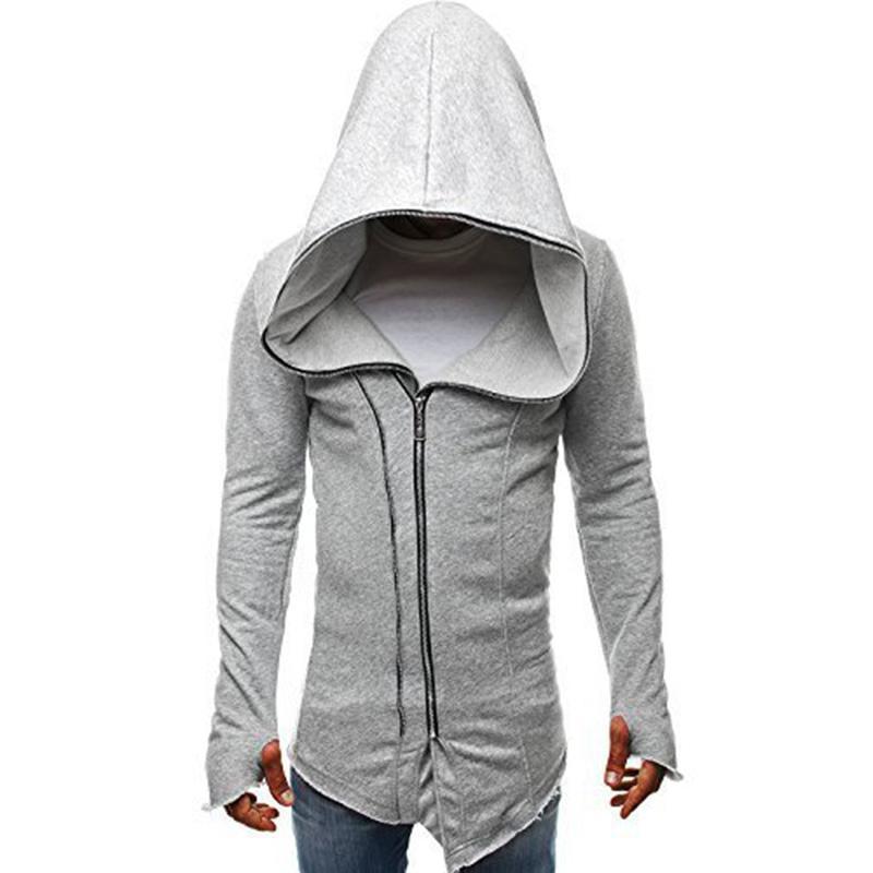 MISSKY Autumn Men Sweatshirt Dark Cloak Design Hoodie Solid Color Warm Hooded Pullover Top with Zipper Closure