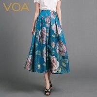 VOA 2018 новые летние синий шелковой вышивкой Для женщин макси юбка с принтом модные весенние цветочные элегантная винтажная плиссированная ю