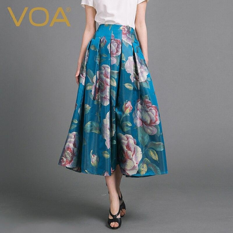 VOA 2018 Summer New Blue Silk Embroidery Women Print Maxi Skirt Fashion Spring Floral Elegant Vintage Pleated Skirt C6908
