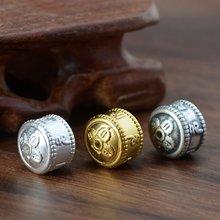 100% 3d серебро 999 пробы тибетские шесть слов пословица бусины