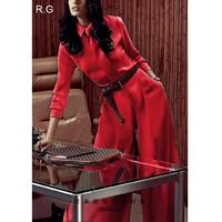 RG Для женщин блузка рубашка широкие брюки костюм с длинными брюками комплект Рождество красного цвета Бизнес работы Рубашки для мальчиков