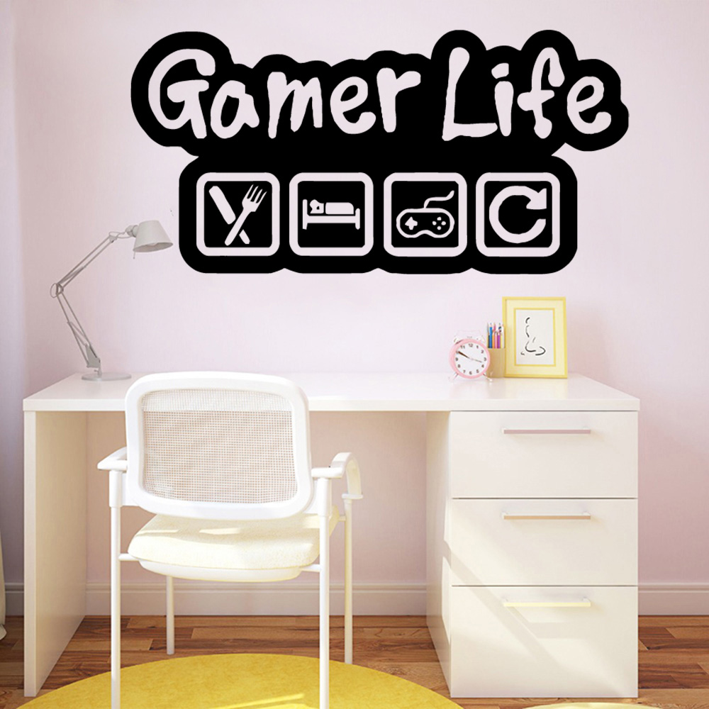 Quotes gamer life Vinyl Wall Sticker game room Decor Stikers Bedroom Nursery Decoration Wall Stickers Waterproof Wallpaper