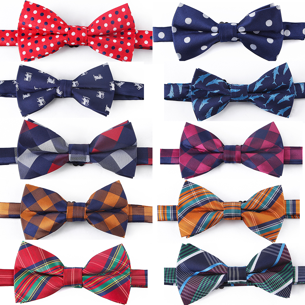 Tailor Smith 100% Microfiber Bowtie Woven Dot Checked Stripped Bow Tie Butterfly Wedding Dress Mens Formal Classical Accessory