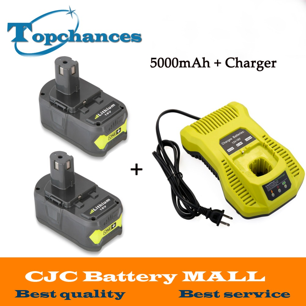 Newest 12 18V Charger 2x 18V 5000mAh Li Ion For Ryobi Hot P108 RB18L40 Rechargeable Battery