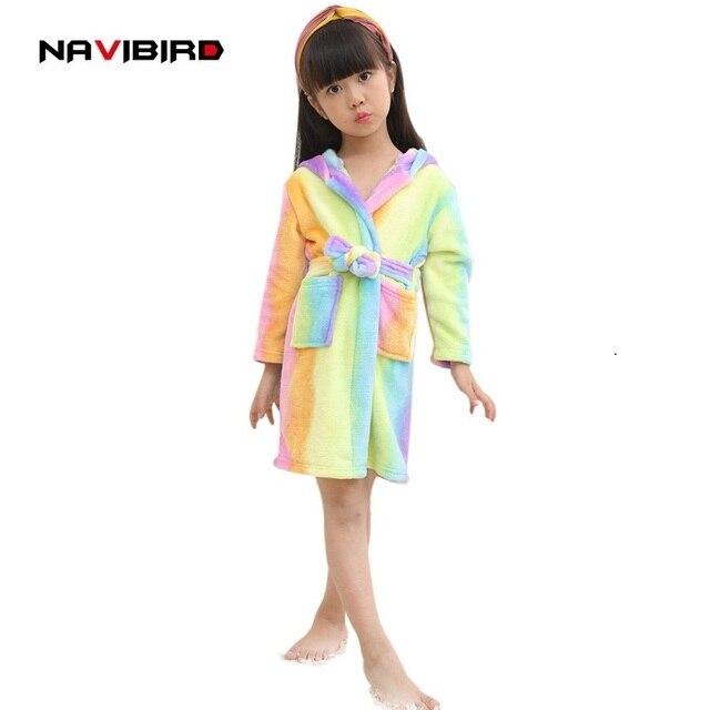 Children Flannel Rainbow Unicorn Robes Winter Animal Pajamas Hooded ...