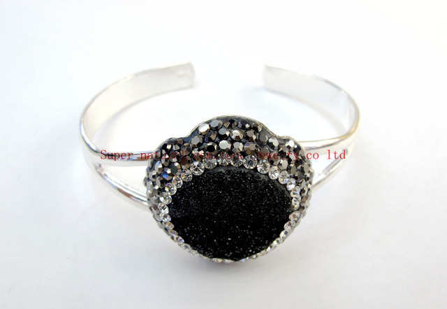 New Arrived Mixed Druzy Bangle Jewelry Druzy with CZ Crystal Jewelry Bracelet Drusy Bangle 3pcs/lot Christmas Gift