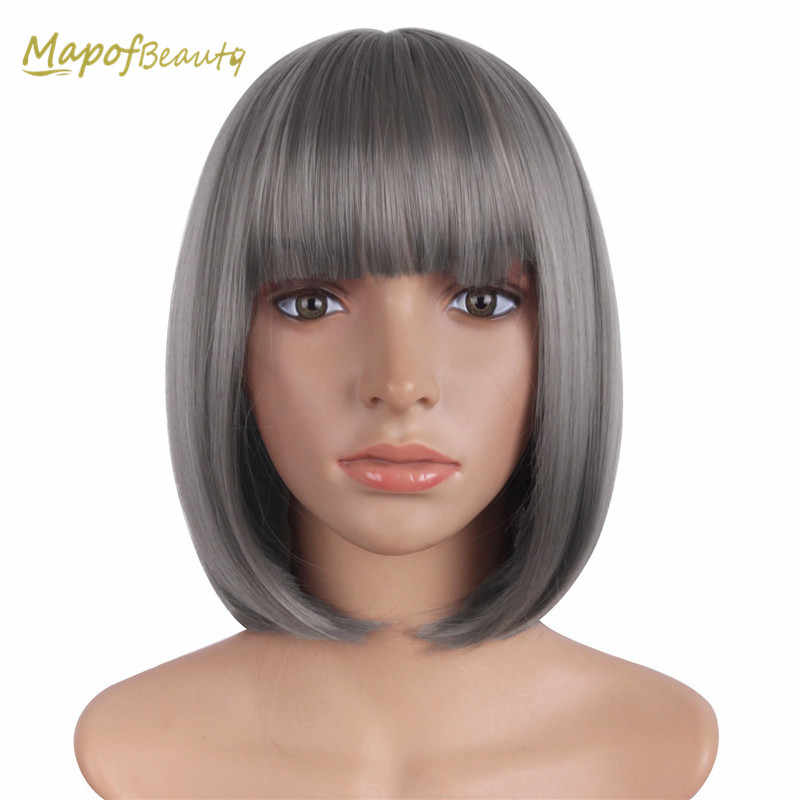 Mapofbeauty 12'' Grey Bob Wigs For Women Cosplay Wig With Flat Bang Short Straight Costume Party Synthetic Hair Heat Resistant