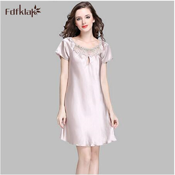 Fashion brand silk   nightgowns   women elegant short sleeve female   sleepshirt   plus size casual night dress ladies   nightgown   S-3XL