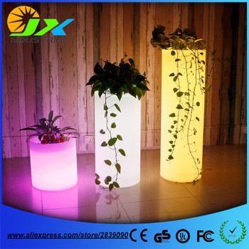 Factory Direct Sale 16 Color Changing LED Flower Pots Illuminated Planter with 24 keys Remote Control Free Shipping  illuminated planter