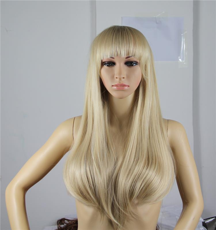 Heat Resistant Snthetic Hair Wig For Black Women Sexy Ladies Long Straight Party Cosplay Blonde Wigs With Bangs Peruca Peruke